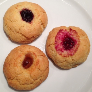 Shortbread biscuits with damson jam, raspberry jam and marmalade.
