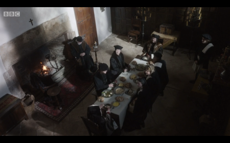 Dinner at Thomas More's house. Episode 2 of BBC TV's adaptation of Wolf Hall, minute 20:47. First shown: 9pm 28 Jan 2015. © BBC
